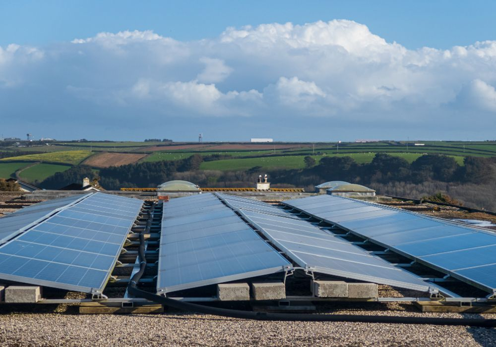Solar Panels On Roof In The Countryside